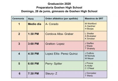 Calendario de graduaciones de Goshen High School