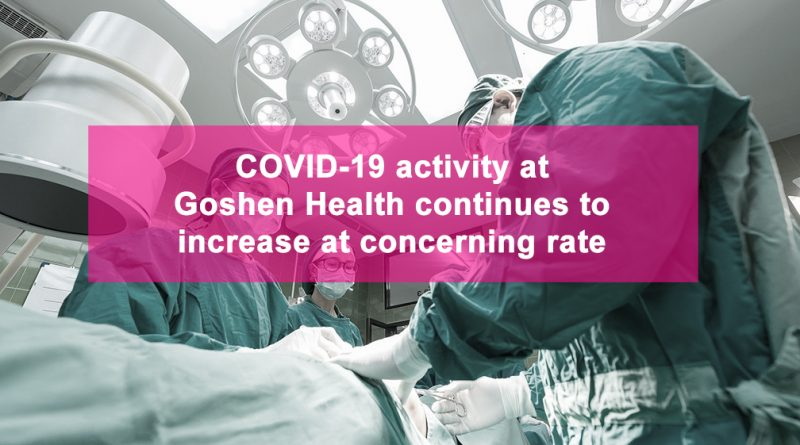 COVID-19 activity at Goshen Health continues to increase at concerning rate