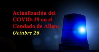 Actualización del COVID-19 en el Condado de Allen: Octubre 26