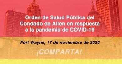 Orden de Salud Pública del Condado de Allen en respuesta a la pandemia de COVID-19